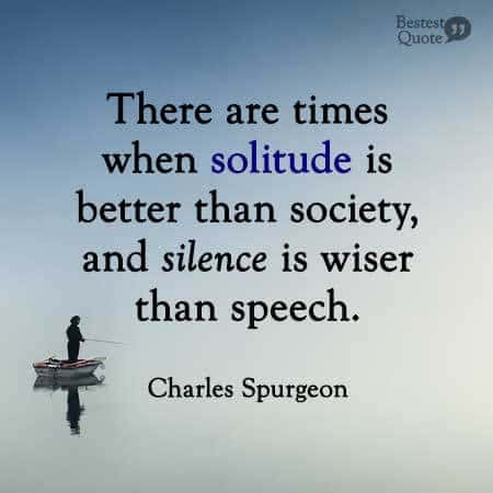 There are times when solitude is better than society, and silence is wiser than speech. Charles Spurgeon