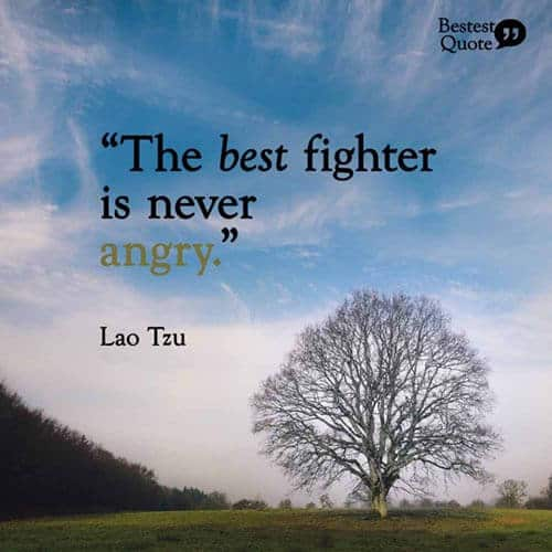 """The best fighter is never angry."" Lao Tzu"