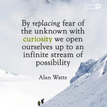 """By replacing fear of the unknown with curiosity we open ourselves up to an infinite stream of possibility. "" Alan Watts"
